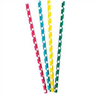 100pcs Straw 240x8mm Dots- 4 color Ass.